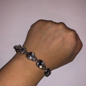 Jewelry: Silver Skull Bracelet w/ Rhinestone Eyes